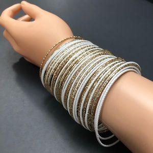 NEW 40 Count Gold/White Shimmery Bangle Bracelets
